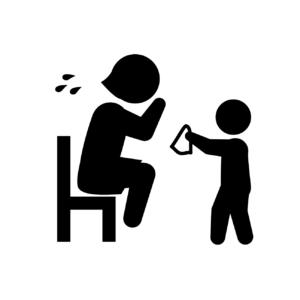 ご主人の浮気で離婚し残されて泣いている母親と子供